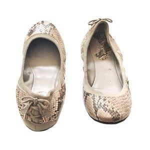 Cole Haan snake print lace up heel ballet flats